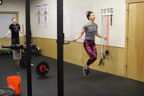 Cara hitting double unders during the 0530 group WOD.