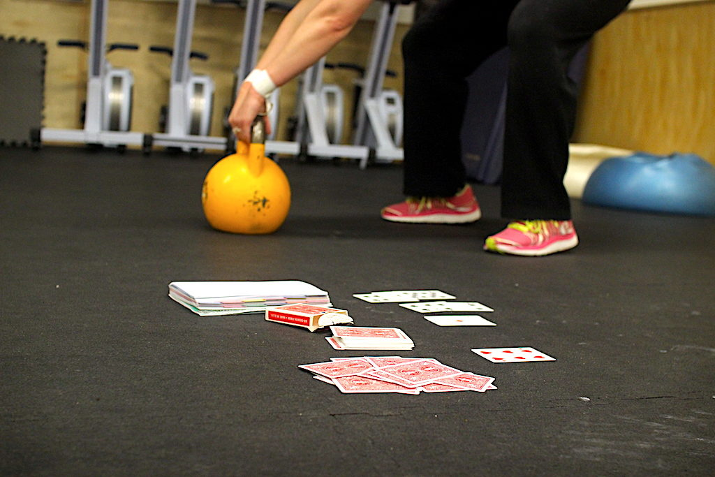 Kettlebell and deck of cards