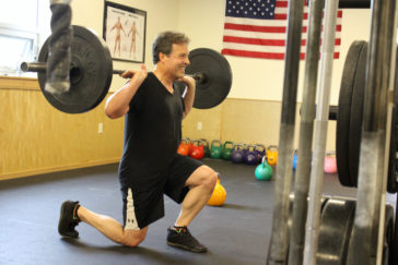 Tony lunging during the 1200 CrossFit Missoula group WOD.