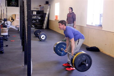 Jacob deadlifting during the 1200 CrossFit Missoula Group WOD.
