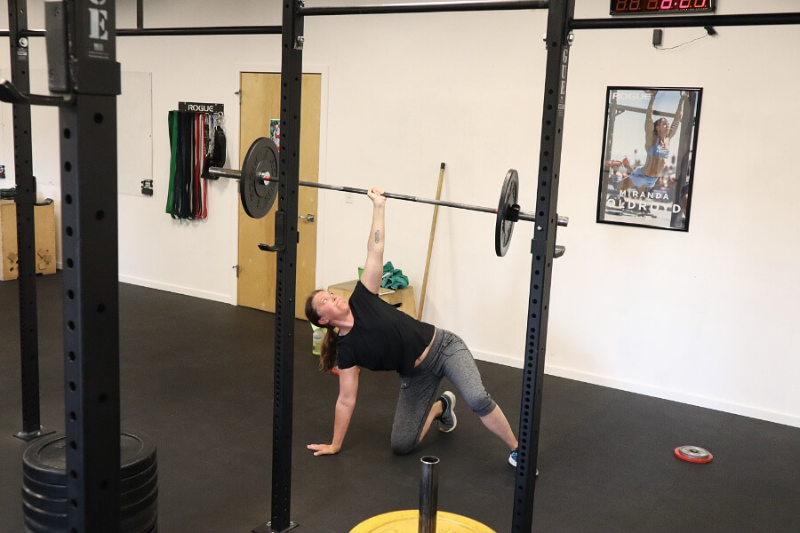 Steph finding her 1 rep Turkish get-up