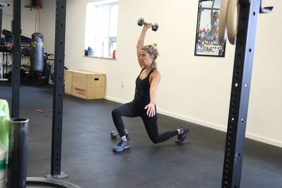 Ann overhead reverse lunges