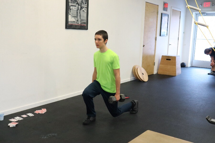 Kaelan lunging during the 1100 hr class